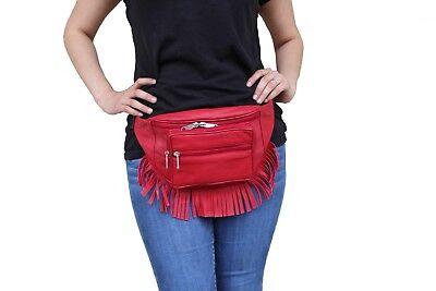 Boho Fur Fringe Leather Fanny Pack Travel Moon Hip Belt Red Navy Brown Black  Fringe Hip Belt