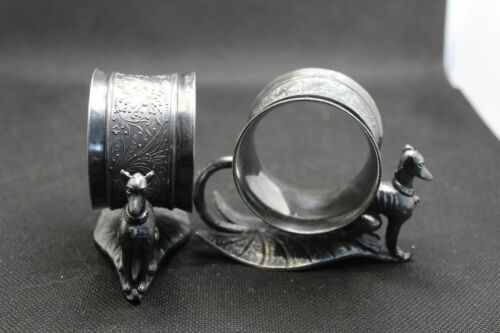 Antique Victorian Silver Plated Figural Napkin Rings with Great Danes (Whippets)