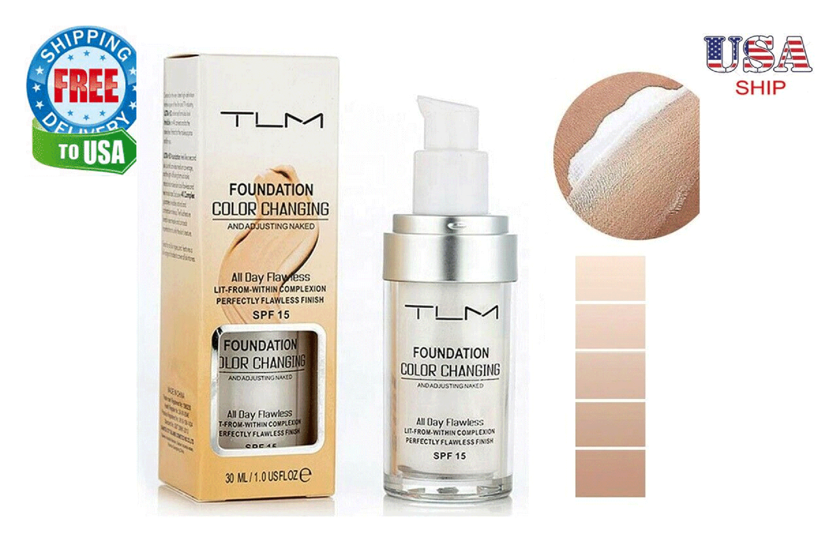 TLM Color Changing Foundation Makeup Base Face Liquid Cover