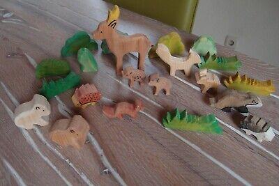 Holz Figuren Tiere Waldtiere Reh Hirsch Rehkitz Fuchs Dachs Büsche  online kaufen