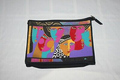 VTG Laurel Burch Woman Spirit Colorful Zip Top Tote Canvas Make-up Bag Purse