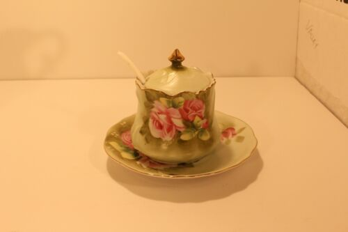 Lefton China HERITAGE GREEN Jam/Jelly w/Lid & Underplate #1152
