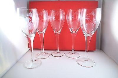 Vintage Set of 5 Clear Glass Etched Flower Wine Glasses