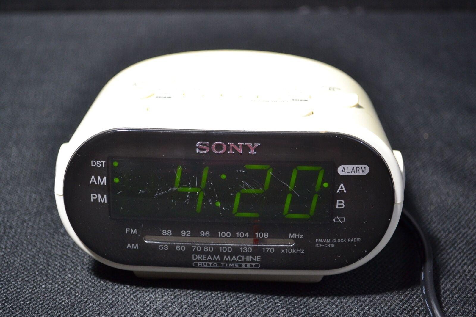 SONY ICF-C318 FM AM Clock Radio White Dream Machine