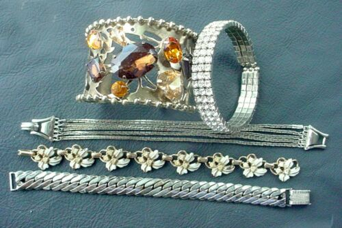 LOT OF 5 VINTAGE BRACELETS RHINESTONE CUFFS CHAIN ENAMEL AND MORE