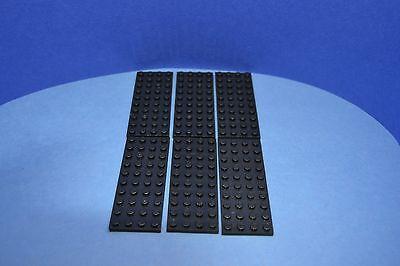 LEGO 6 X BASISPLATTE 4X10 SCHWARZ BLACK BASIC PLATE 3030 303026