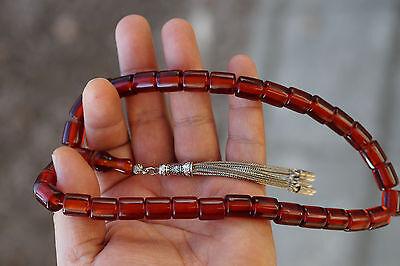 New Bakelite Amber + Polyester Prayer Chain Tesbih Arab Turk