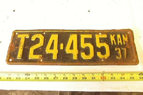 OLD   ANTIQUE KANSAS  1937  LICENSE PLATE TAG TRUCK
