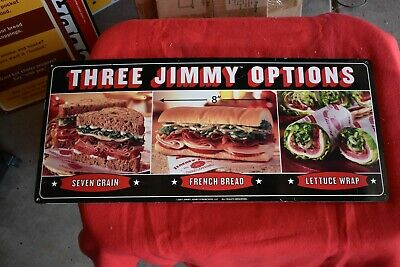 Vintage Jimmy Johns Metal Sign #19-Three Jimmy Options...