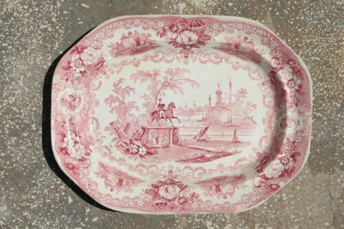 "Antique Staffordshire Transferware Platter ""Wood & Brownfield"" (Unmarked)"