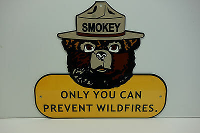 "SMOKEY THE BEAR STEEL ENAMEL ONLY YOU CAN PREVENT WILDFIRES SIGN 12""X 14"""