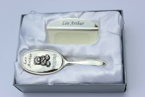 Personalized Baby Brush and Comb Set, Personalized Gift, Silver Plated, Engraved