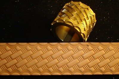 Leather Embossing Machine Roll with Basketweave pattern Brass 1-1/4""