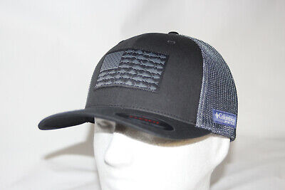 Columbia PFG USA Patch Mesh Flexfit Fitted Ball Cap Hat in White L//XL FREE Decal