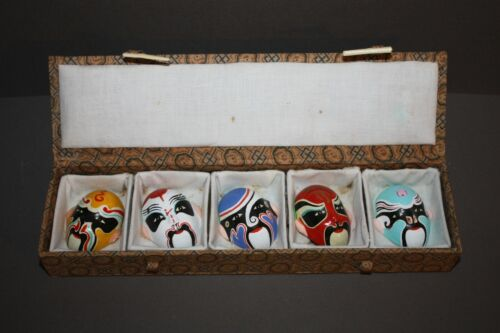 VINTAGE LOT OF 5 CHINESE HAND PAINTED CLAY OPERA MASKS IN BOX