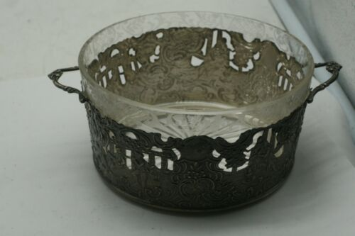 Cut Glass and Sterling Repoussé  Candy Dish - 1900