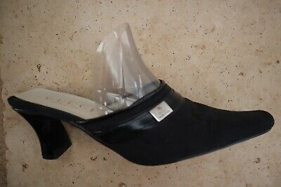 Vintage GUCCI Black Signature Backless Heels w/Metal Accent US 8.5