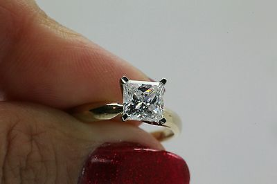1CT SOLITAIRE ENGAGEMENT BRILLIANT PRINCESS CUT RING SOLID 14K YELLOW  GOLD