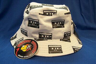 White Bucket Hat (Black Cassette Printed White Full-Brim Bucket Hat ONE SIZE Piranha)