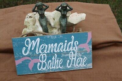 Mermaid Bathroom Shelf Decor / Mermaids Bathe Here Cast Iron / Wood, 3 items