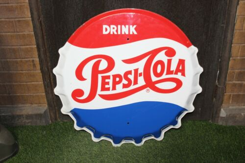 """1950-60s Pepsi-Cola Bottle Cap Tin Metal Sign by Stout Sign Co. Single Sided 30"""""""