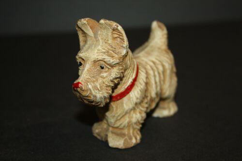VINTAGE CARVED RESIN SCOTTIE TERRIER DOG FIGURINE