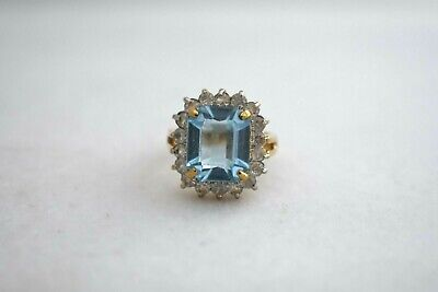 Joan Rivers Faux Blue Topaz & Clear Stone Ring Goldtone Size: - Clear Topaz Stone