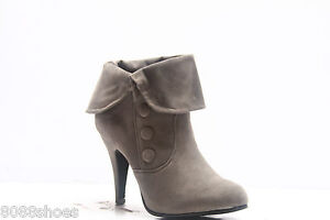 Women's Ankle High Heel Botton Decor Causal Dress Party Boot Shoes  Size 5 -10