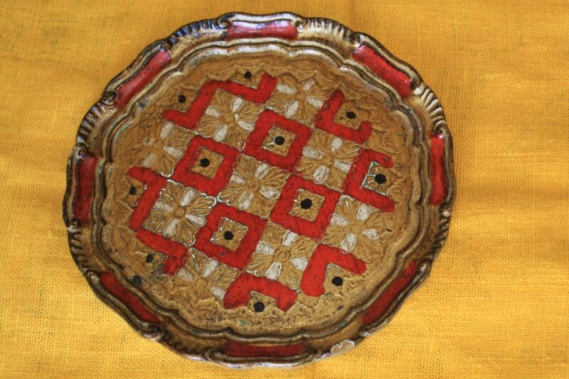 Vintage Floentine Toleware Round Gold Gilded Serving Tray Made in Italy