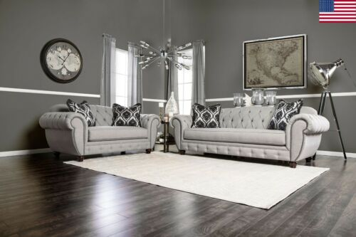 Gray Fabric Modern Victorian 2pc Set Tufted Arms Sofa Loveseat Viviana Living