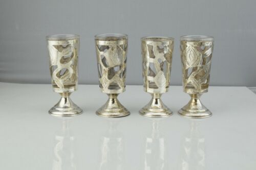 Set of 4 - Sterling Silver Overlay Pedestal Shot Glasses Tequila Cordial Sippers