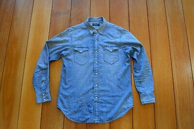 POLO Ralph Lauren Distressed and mended Western Denim Shirt RRP 350€
