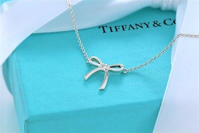 """Tiffany & Co. Sterling Silver Mini Ribbon Bow Charm Pendant 16"""" Necklace w/Pouch"""