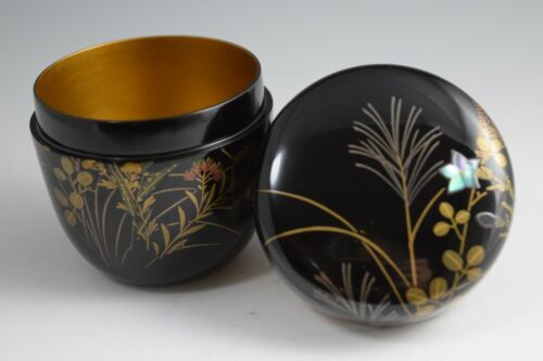 "Japanese Lacquerware ""Flowers in Autumn"" Makie & Raden. Natsume Tea Caddy. #141"