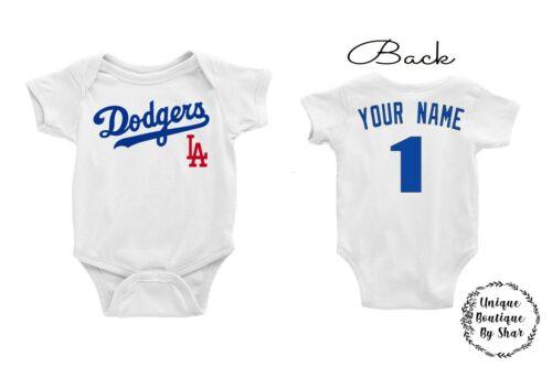 Los Angeles Dodgers Homemade baby bodysuit.