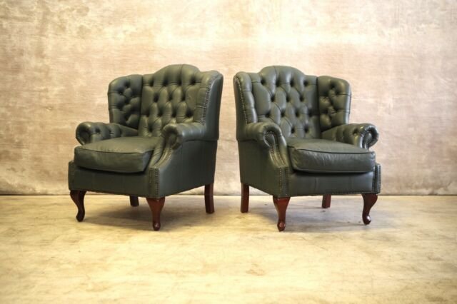 Green Chesterfield leather wingback armchairs | Armchairs ...