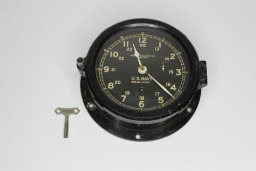 "VINTAGE WWII U.S. Navy Chelsea Clock Co Boston 6"" Face with Key SER NO. 9099E"