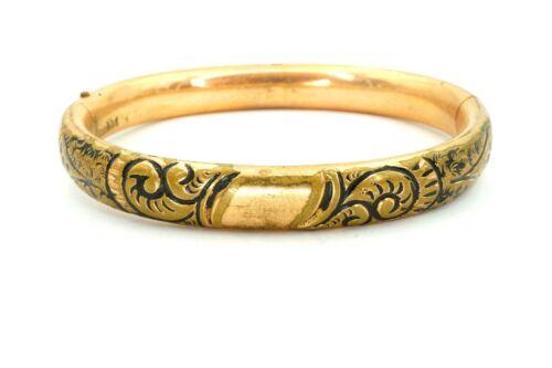 """Vintage Victorian Gold Filled GF Etched Black Enamel Hinged Bangle Bracelet 6.5"""""""