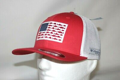 Columbia PFG Hook Patch Mesh Snap Back Ball Cap in Sunset Red FREE DECAL