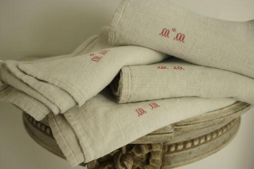 Antique European Heavy Linen Towel MM Monogram