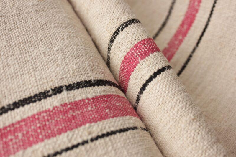 Grain sack grainsack fabric vintage linen Red black striped 4.4 yards washed