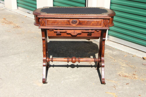 Fancy Walnut Victorian Two Drawer Turtle Top Sewing Writing Table ~ Ca.1870