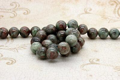 Red Green Garnet Smooth Ball Round Sphere Natural Gemstone Beads - 15.5