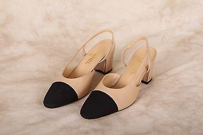 2016 Classic CHANEL Beige Black Leather Slingback Shoes Heels 39 EU