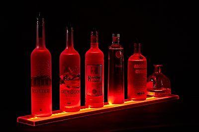 Armana Acrylic New 3 Ft Led Lighted Liquor Bottle Shelves Display Bar Shelf