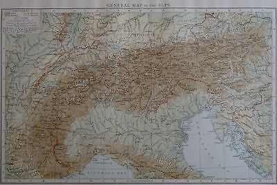 Victorian Map 1896 of GENERAL MAP of the ALPS The Times Atlas 1st Gen