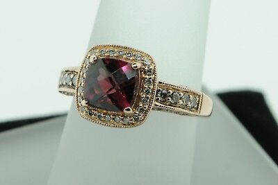 LEVIAN 14K Rose Gold Rhodalite Garnet Ring w/Chocolate Vanilla Diamonds (6 3/4) (14k Rhodalite Garnet Ring)