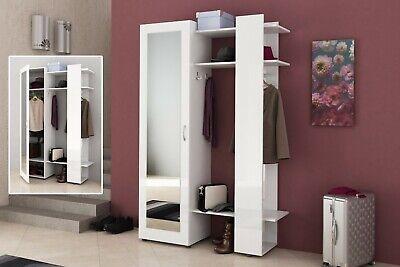 Mobile ingresso moderno con specchio e appendiabiti modello Ava bianco design