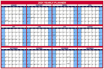 Large Wall Dry Erase Office Calendaryearly Planner 2021 24x36