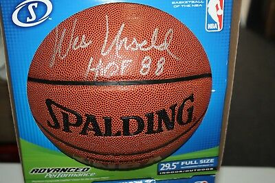 91f0f1bd4ea WASHINGTON BULLETS WES UNSELD SIGNED SPALDING NBA BASKETBALL HOF 88 JSA CERT